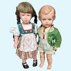 Two German Turtle Mark Celluloid Dolls, Kathe Kruse
