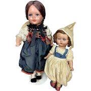 "Vintage 16"" Ethnic Regional Celluloid Hard Plastic Crier Doll Beautiful Clothing"