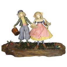 Vintage Jack and Jill Storybook Dolls Corn Husk - Red Tag Sale Item