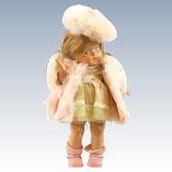 Vintage 1940 - 1943 Vogue Toddles Composition Doll, Toodles Pre-Ginny Doll with Tagged Pink Bunny Fur Ginny Coat and Tam #184