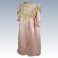 Antique Pink Silk and Lace Doll Bebe Dress