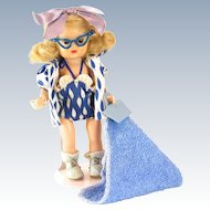 1950s Nancy Ann Storybook Doll Honey Blonde Muffie Wearing Hawaiian Beach Outfit #801 with Cat's Eye Glasses, Wrist Tag and Box