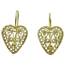 18 karat Gold  Handmade Heart Filigree Earrings