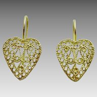 Handmade 18 karat Gold Heart Filigree Earrings