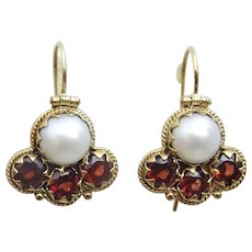 9 karat Gold Pearl and Garnet Earrings in Uzbekistani style
