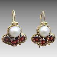 Uzbekstani  Style 9 karat Gold Pearl and Garnet Earrings