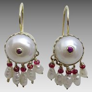 Handmade Pearl and Ruby Earrings