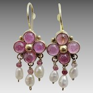 Handmade9 karat Gold  Pink Tourmaline Earrings