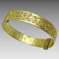 Vintage 18 karat gold Moroccan Engraved Bracelet