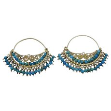 Hand Made Oriental style Turquoise Hoop Earrings