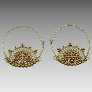Vintage Indian 18 karat Gold Hoop Earrings