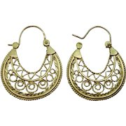 Handmade Oriental 18 karat hoop earrings.