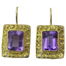 Handcrafted 18 karat Gold and Amethyst Earring
