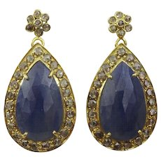 Hand Made Elegant Sapphire and Diamante 18 karat Gold Earrings