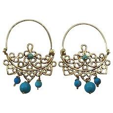 Handmade lightweight Turquoise Hoop Earrings