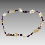 Rut tel Quartz, Amethyst, Garnet and 18 k gold wax bead Necklace