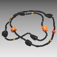 Coral ,Onyx and 18 karat Gold wax beads Necklace