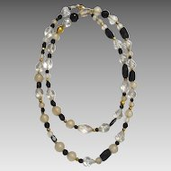 Long Onyx, Glass, Crystal and 18 karat gold wax beads Necklace