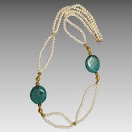 Pearl, Tibetan Turquoise and Vintage 18 k Gold Wax Beads 2 Strand necklace