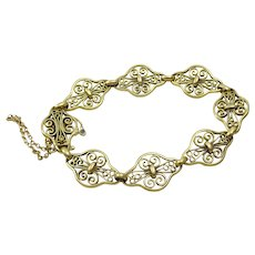 Vintage French 18 k Gold Filigree Hand made Bracelet