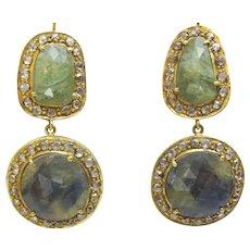 Handmade 18 karat Gold , Corundum And Diamond Earrings