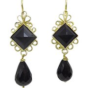 Handmade 9 karat Gold and Onyx Earring