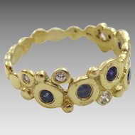 Handmade 18 karat Gold Sapphire and Diamond Ring