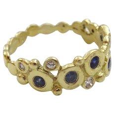 Handmade 18 karat Gold Sapphire and Diamond Ring