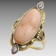 Antique  Art Noveau 14 karat Coral and Diamond Earring