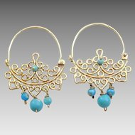 Handmade light weight 9 karat and Turquoise hoop earrings