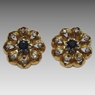 Vintage 18 karat Gold European Sapphire and Diamond Earrings