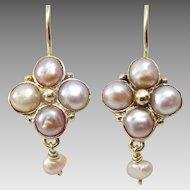 Handmade 9 karat  Gold Pink Pearl Earrings