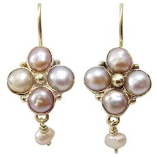 Handmade 9 karat  Gold Pink Pearl Earrings
