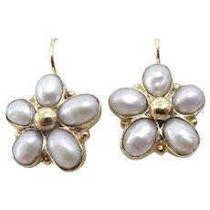 Handmade 9 karat Gold Pearl Flower Earring