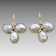 Classic  9 karat Gold Handmade Pearl clover Earrings