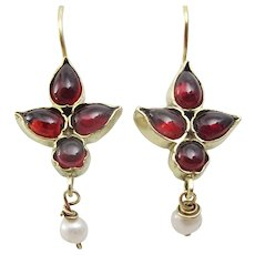 Handmade 9 karat Gold Garnet and Pearl Earrings