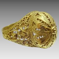 Yemenite Style 18 karat Gold Handmade Ring