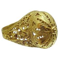 Yemenite Style 18 karat Gold Handmade Ring
