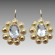 Handmade 9 karat Gold and Sky Blue Topaz Earrings