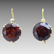 "Handmade "" Basket "" 9 karat Gold Garnet Earrings"