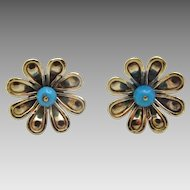 Handmade 9 karat Gold and American Turquoise Post Earring