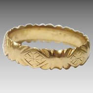 Vintage Engraved 18 karat Gold Ring