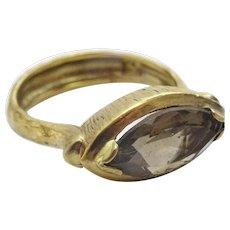 Handmade 9 karat Gold and Smokey Quartz Ring