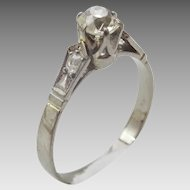 Vintage 14 karat White Gold and Diamond Engagment Ring