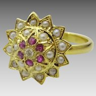 Handmade Flower. Ruby, Basra Pearls and Diamond Ring