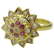 Handmade Flower. Ruby, Basra Pearls and Diamond Ring