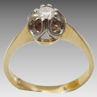 14 Karat Gold Vintage Russian Diamond Engagement Ring