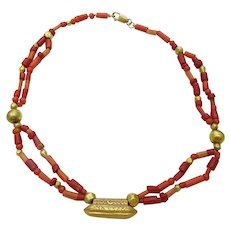 22 and 18 karat Gold + Coral Necklace