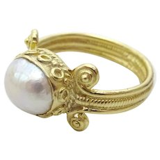 Greek Style 18 karat Gold and Pearl handmade Ring