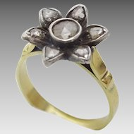 Antique 14 karat Gold and Silver Diamond Ring